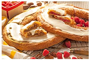 O & H Danish Kringles, Set of Two, Pecan and Raspberry Kringle. Gourmet Danish Kringle Holiday Food Gift. A favorite for Thanksgiving, Christmas, Easter and more!
