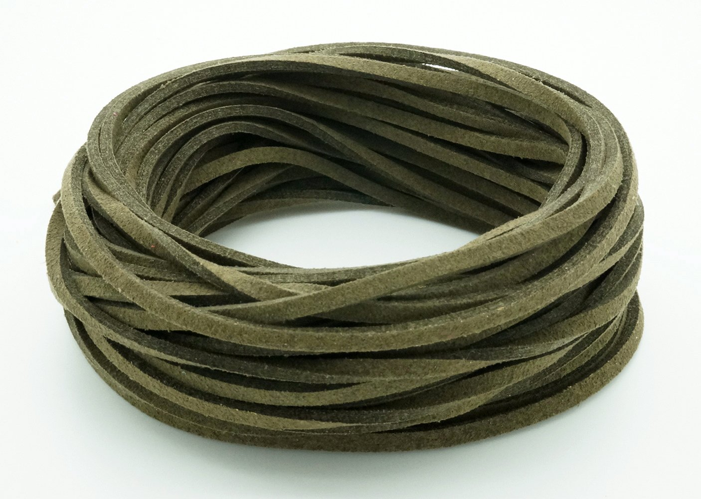 69277337b726b Amazon.com: DARK OLIVE GREEN 3mm x 1.5mm Faux Suede Cord Leather ...