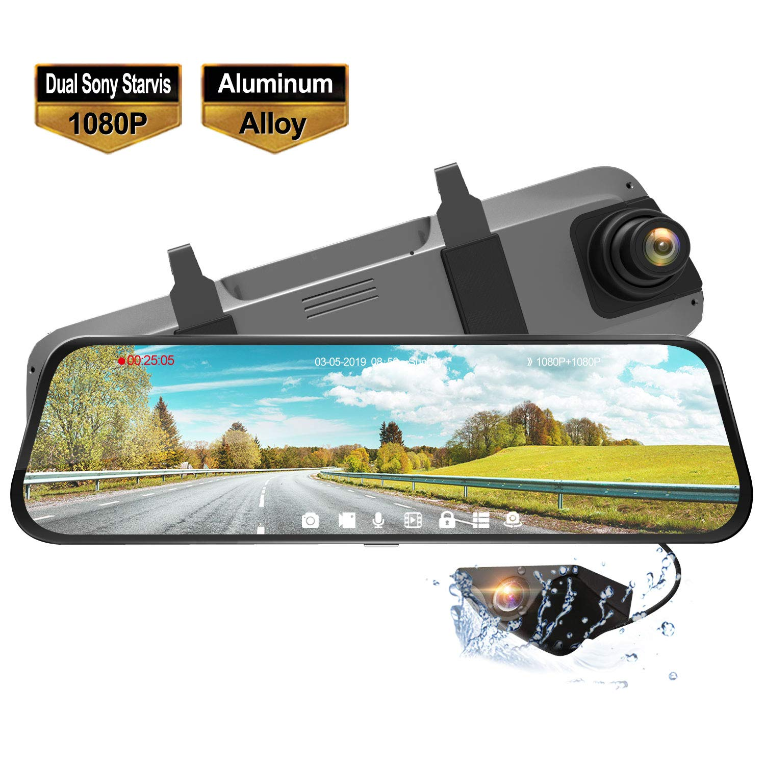 """Rear View Backup Mirror Camera with Dual Sony Starvis Lens,1080P Front and Backup Camera Driving Recorder 9.66"""" Waterproof Full Touch Screen"""