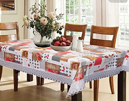 Kuber Industries Checkered PVC 6 Seater Dining Table Cover - Cream