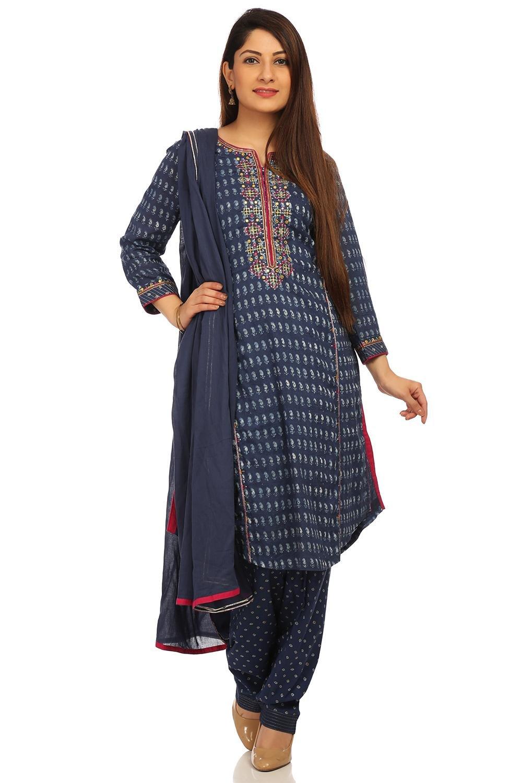 BIBA Women's Indigo Straight Cotton Suit Set Size 34