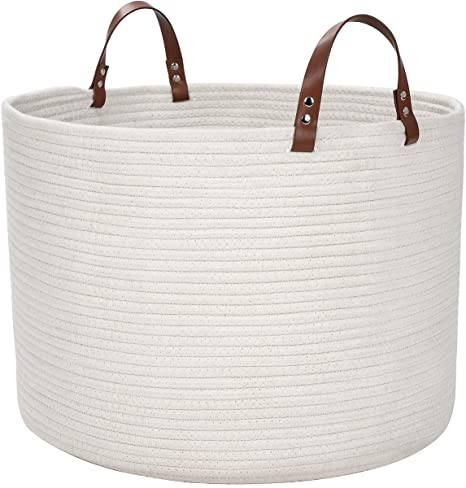- Cotton Rope Basket Woven Baby Laundry Basket with Leather Handle for Diaper Toy Cute Neutral Home Decor D H DOKEHOM Large Storage Baskets -15.7 Inches x 13 Inches White, L