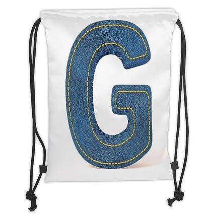 Amazon com : Custom Printed Drawstring Backpacks Bags, Letter G