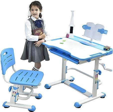 Sprite Blu BEST DESK Grows As You Grow Scrivania ergonomica con Sedia per Bambini Altezza Regolabile in Acciaio con Lampada a LED con leggio