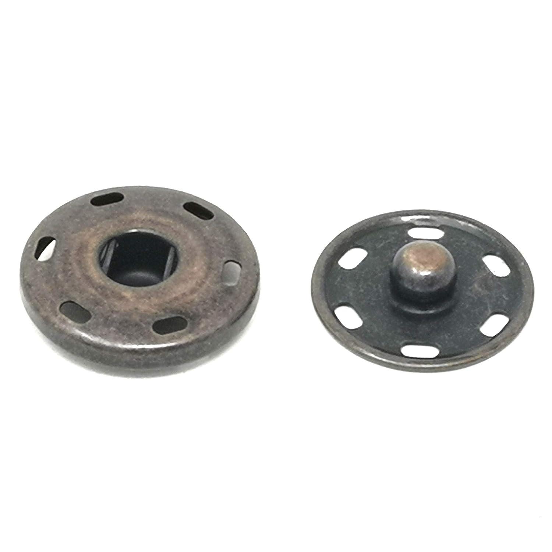 Metal Snap Button Clasps Fastener Press-Stud for Closure Purse Handbag Clothes Sewing Craft 50 Sets 17mm Black