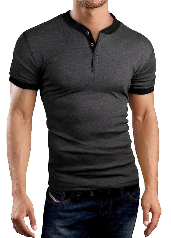 Suncolor8 Mens Slim Fit Plain Casual Business Short Sleeve OL Henley Shirts