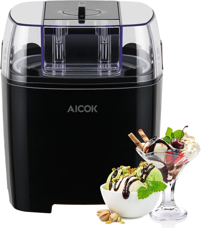 Aicok Maquina de Helados con Temporizador, Maquina Helado de Yogur y Sorbetes con 1.5 Litro, 250W, Libre de BPA, Recetas Incluido, Negro