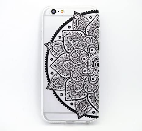 Amazon Com Milkyway Cases Black Henna Lotus Mandala Clear Tpu Cell