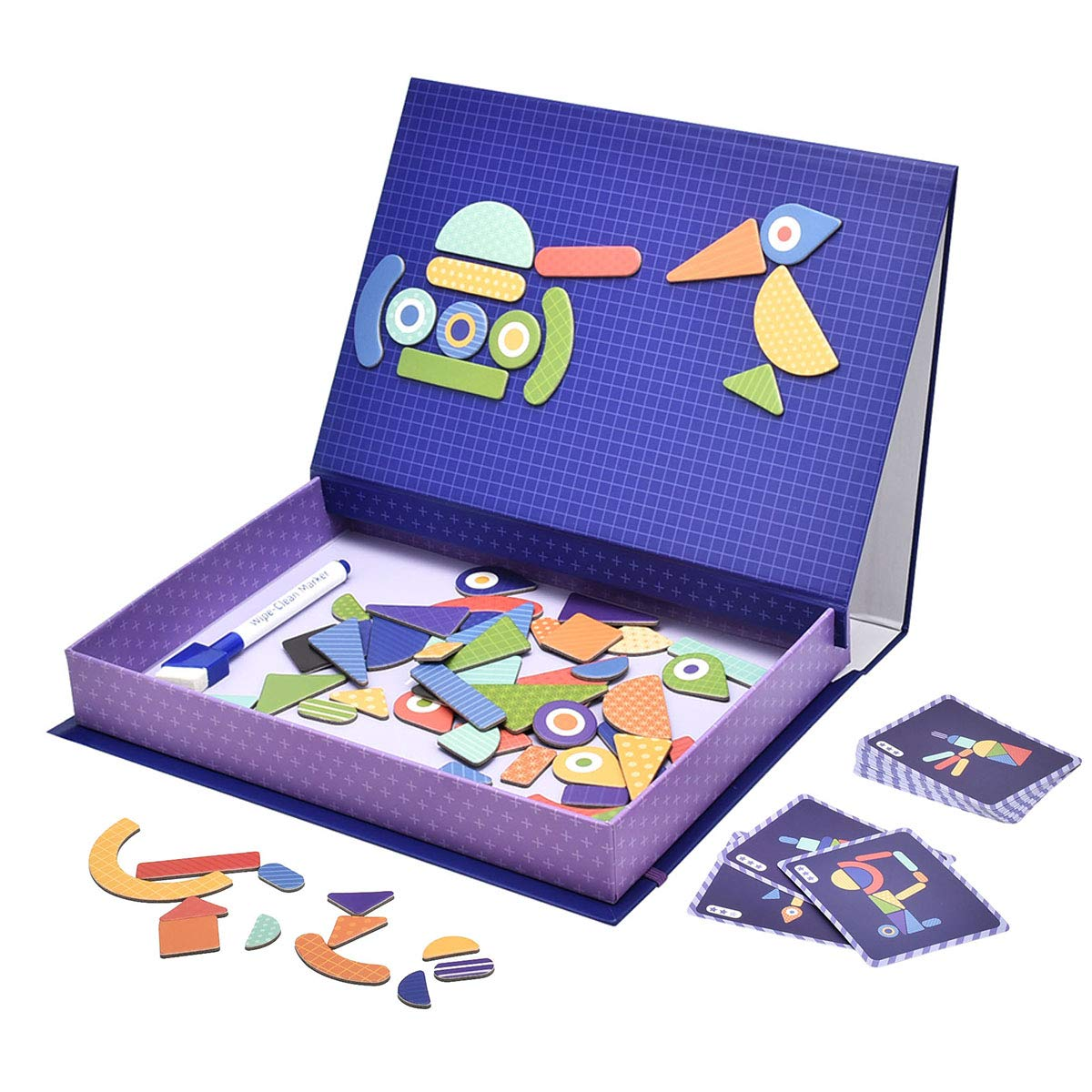 STEM Education Toys Magnetic Puzzles for Kids, YIHUNION 70 Pieces Cardboard Jigsaw & Drawing Sketchpad Learning Toys Dry Erase Board Games For Children Kids