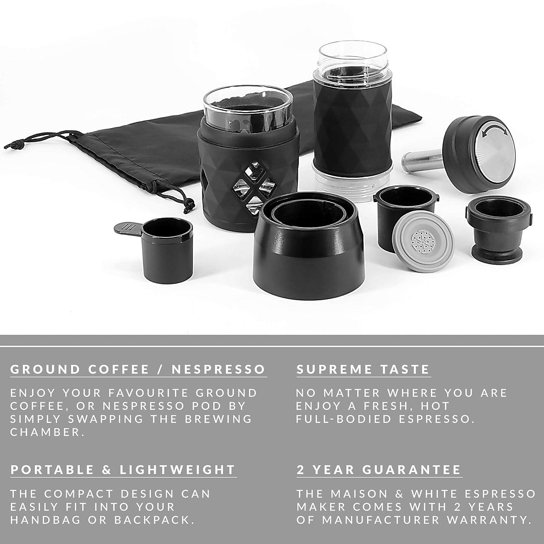 Máquina de café espresso portátil | Cápsula Nespresso y café molido compatibles | Máquina de café de viaje mini manual matraz | M&W: Amazon.es: Hogar