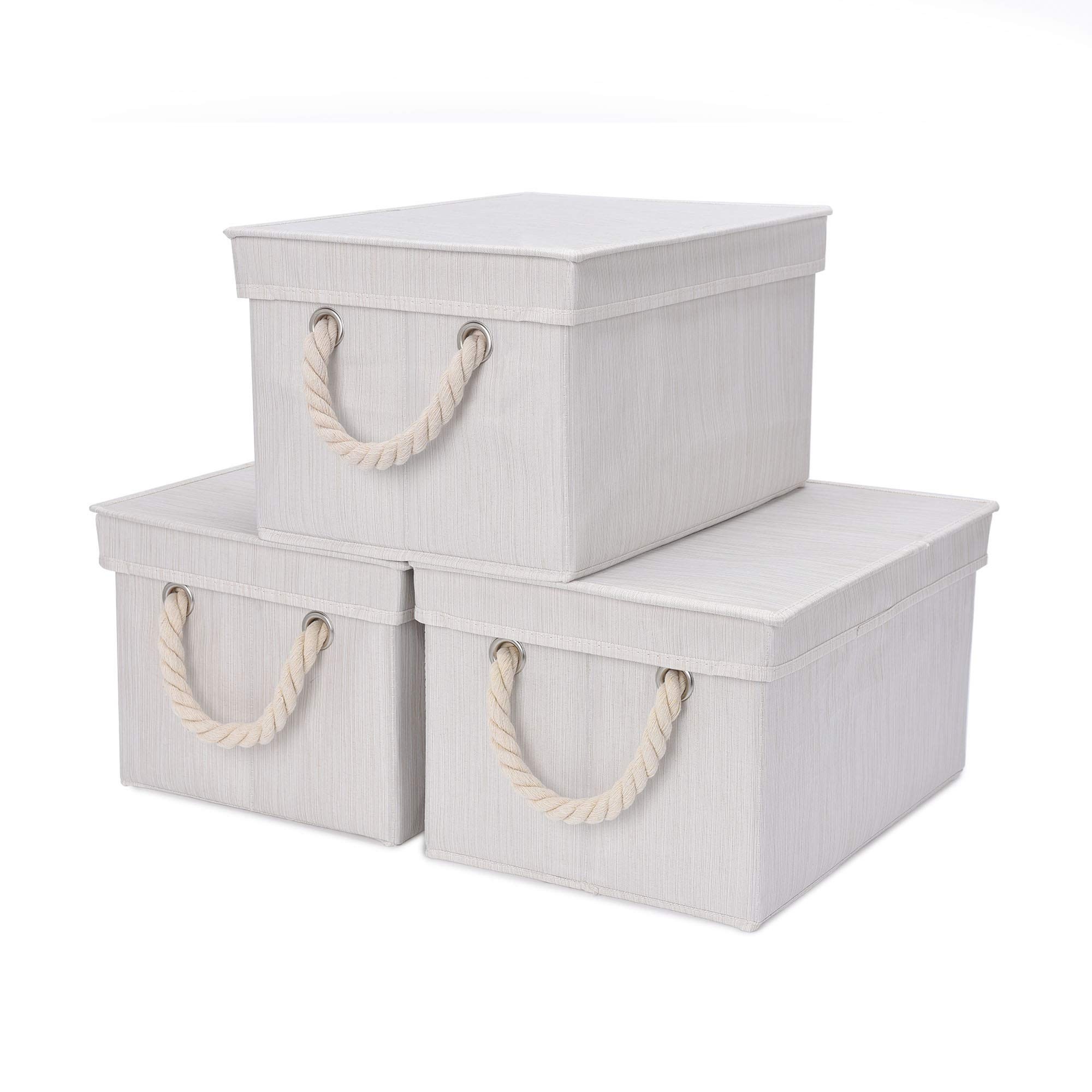 StorageWorks Storage Bins, DVD Storage Box with Lid and Cotton Rope Handles, Foldable Storage Basket, White, Bamboo Style, 3-Pack, Medium, 11.4x8.7x6.9 inches. (LxWxH) by StorageWorks