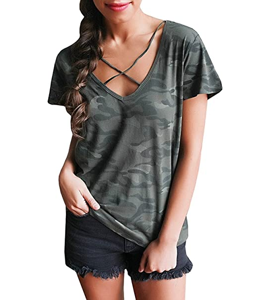 e3b071e3321e53 WorkTd Womens Lace up Camouflage Shirts V Neck Cross Front Tops Blouse at Amazon  Women's Clothing store: