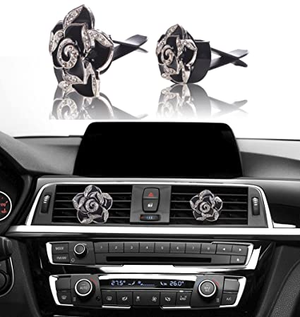 Amazon Com Bling Car Decor Car Air Vent Clip Charms Black Roses