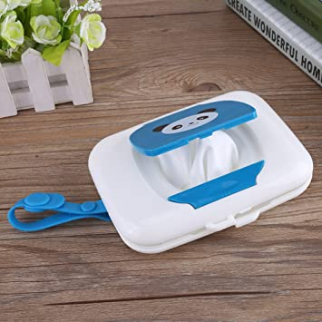 Amazon.com : Wet wipes Storage Box, Baby Outdoor Travel Stroller Wet Wipes Box Refillable Container for Car Bathroom Living Room(White + Blue) : Baby