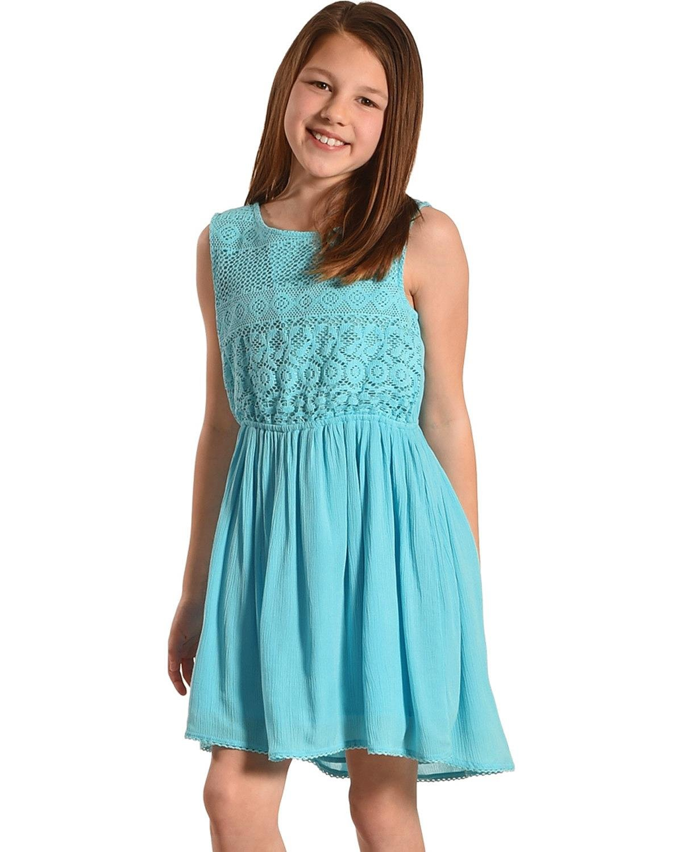 Silver Girls' Sea Sleeveless Lace Dress Light Green Medium