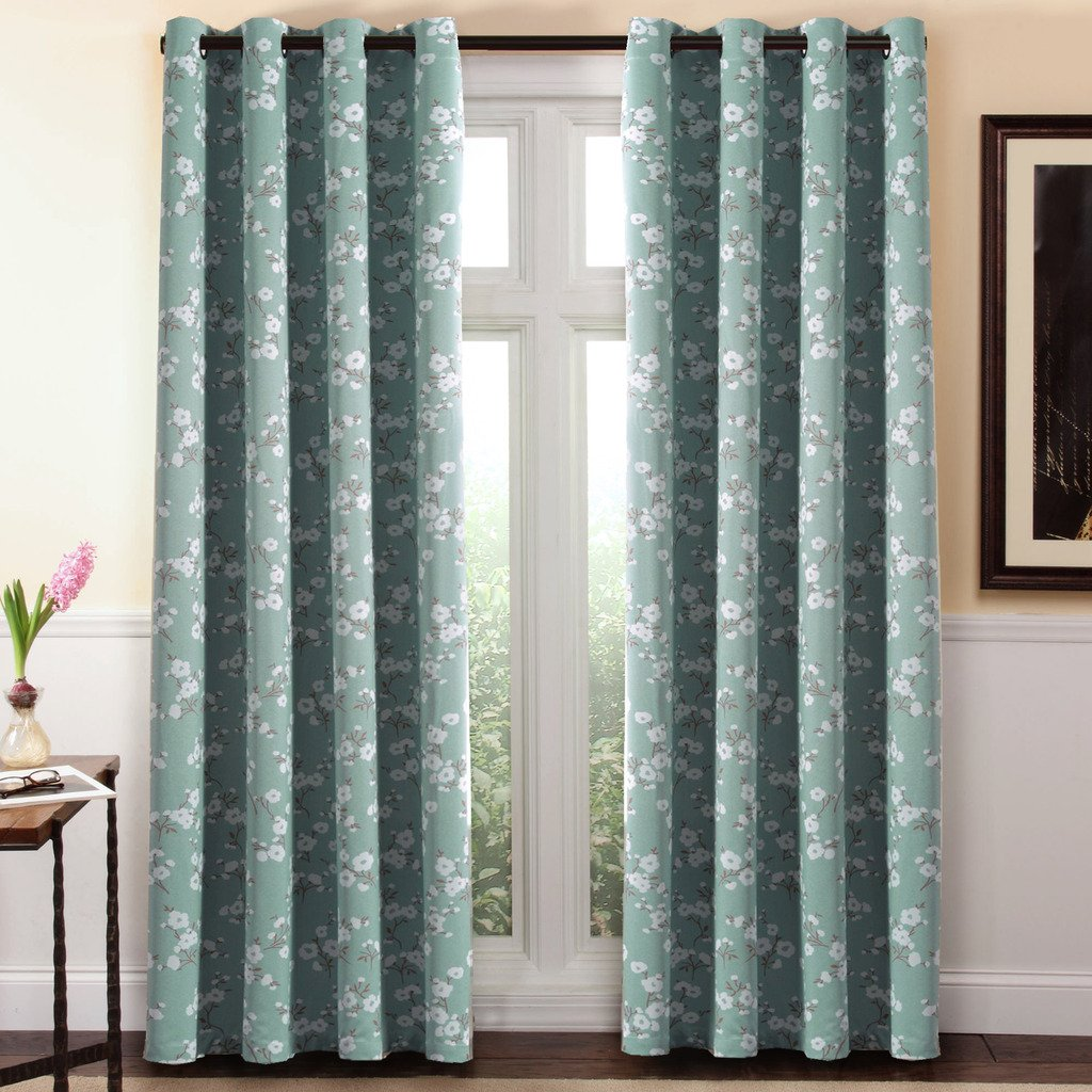 H.Versailtex Traditional Aqua Floral Country Style Pattern Thermal Insulated Blackout Curtains