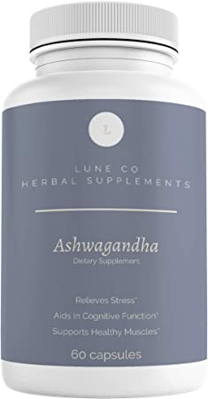 Lune Co Ashwagandha 650mg Organic Ashwagandha Root Powder & Black Pepper   60 Capsules   Premium Ashwagandha Supplement for Stress Relief   Better Sleep   Recovery   Adrenal, Mood & Thyroid Support