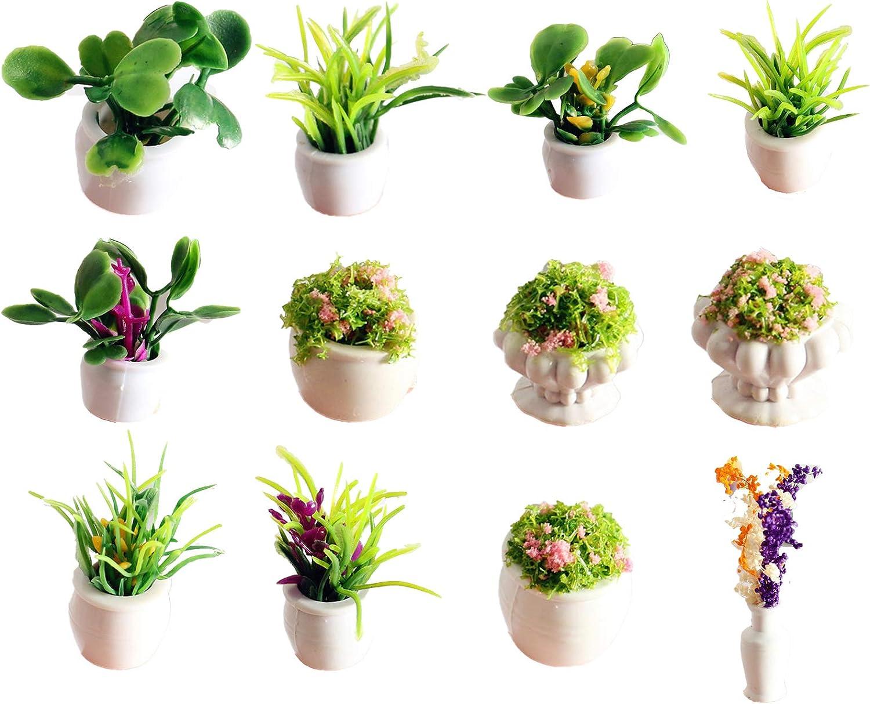 12Pcs 1:12 Dollhouse Miniature Fairy Garden Mini Plant Pot Ornaments, Artificial Tiny Miniature Decorative Flower Pot for Dollhouse, Bonsai Micro Landscape Decor DIY Craft Fairy Garden Decoration
