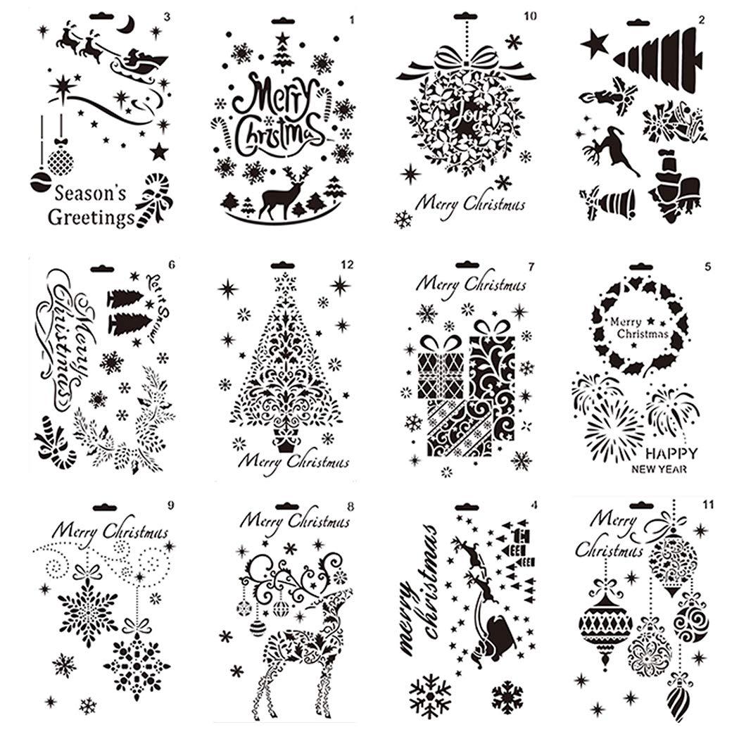 iSuperb 12 Pochoirs de La F/ête de No/ël pour La Papier de Cr/éation Scrapbooking DIY Bullet Journal Stencil Set