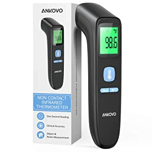 ANKOVO Touchless Thermometer for Adults, Non Contact Forehead Thermometer for Fever, Digital Infrared Thermometer with Fever Alarm and Sound Switch