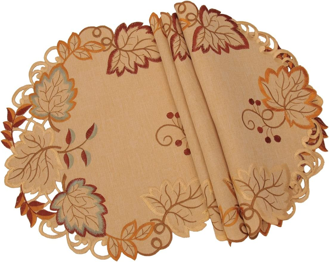 Xia Home Fashions Harvest Verdure Embroidered Cutwork Fall Placemats, 16-Inch Round,Set of 4