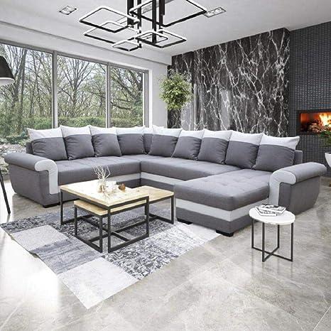 Sofá cama esquinero panorámico Londonderry, colores gris y ...