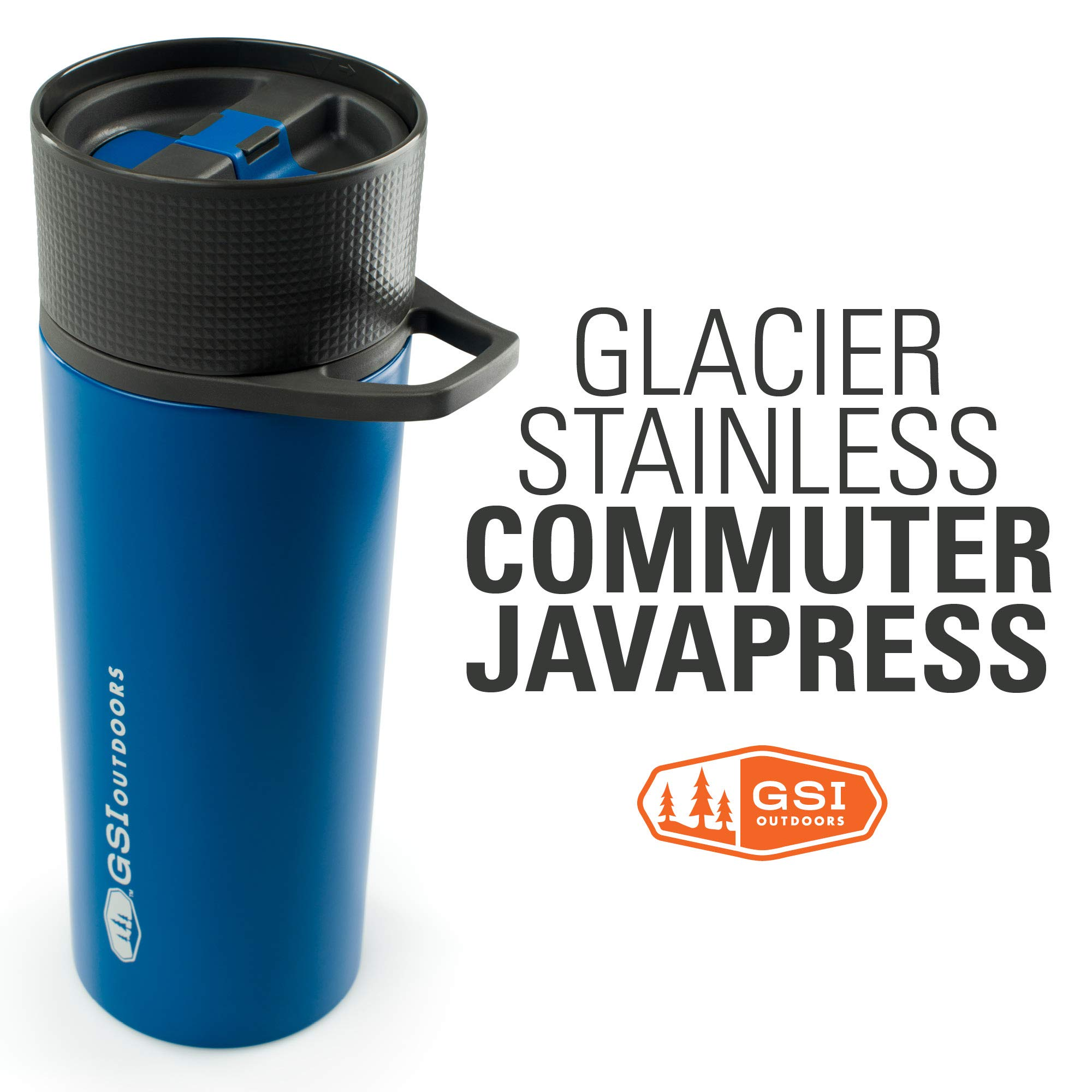 GSI Outdoors - Glacier Stainless Commuter JavaPress, French Press Coffee Mug, Superior Backcountry Cookware Since 1985, Blue by GSI Outdoors
