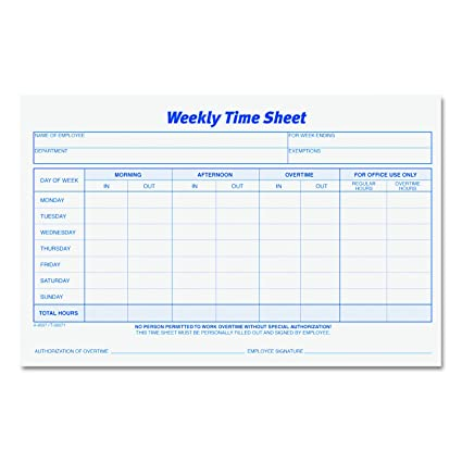 AmazonCom  Tops Weekly Employee Time Sheet  X  Inches