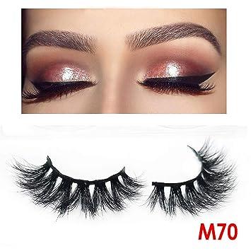 ca14dd1100e Amazon.com : One Pair Natural False Eyelashes Fake Lashes 5D Mink Lashes  Eyelash Extension Crisscross Handmade Makeup Thick Long Eyelashes, M70, ...