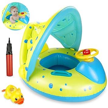 joylink Flotador para bebé, 6-36 Meses Flotador Anillo de Natación Bebé Swim Ring Inflable Piscina Flotador Bebé con Toldo Ajustable Parasol ...