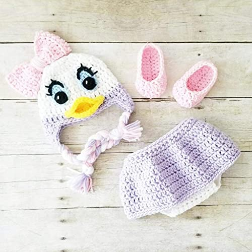 f2aa354a7 Amazon.com: Crochet Baby Daisy Duck Hat Shorts Diaper Cover Shoes ...