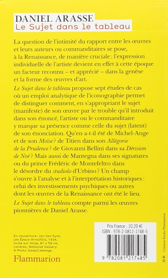 Le Sujet dans le tableau : Essais diconographie analytique: Daniel Arasse: 9782081217485: Amazon.com: Books