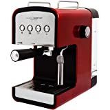 Charles Bentley 2-cup Steam Espresso & Cappuccino, Latte Maker, Stainless Steel Coffee Maker Machine 850W 15 Bar, Red