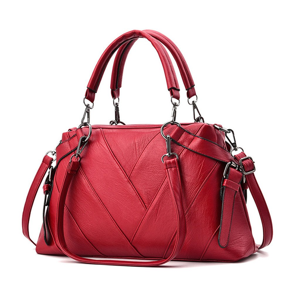 Chic-Dona Women Leather Bags Handbags Shoulder BagsWomen Tote Bag Ladies Handbag Red one size