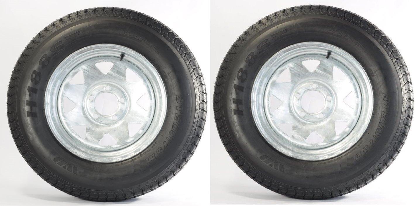 eCustomRim Two Trailer Tires On Rims ST205//75D14 2057514 F78-14 5 Lug Spoke Galvanized