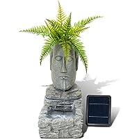 Fuente solar y macetero con forma de moái