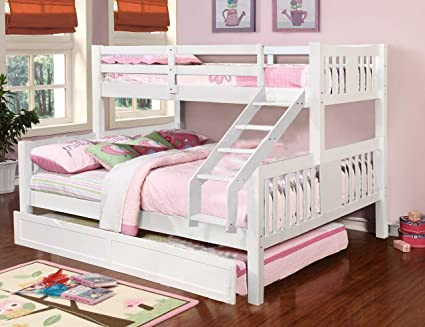 Aprodz Ashmo White Twin Over Queen Bunk Bed with Trundle: Amazon ...