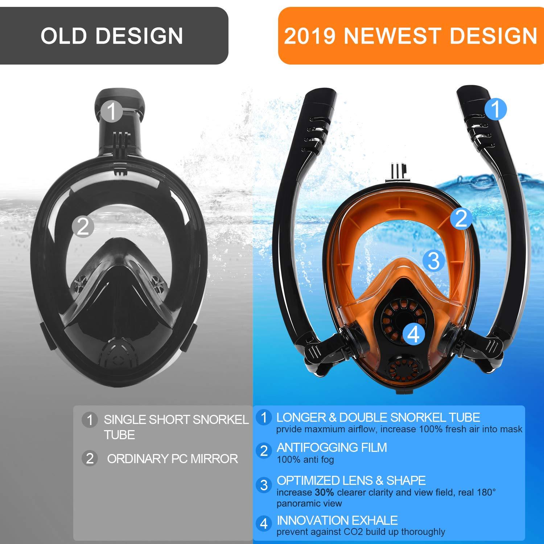 K2 Safe Breathing Full Face Snorkeling Mask with 180/° Panoramic Design Anti-Fog Anti-Leak Snorkeling Diving Mask for Adults Kids with Detachable Camera Mount Yobenki Snorkel Mask