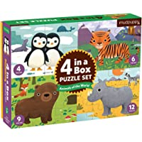 Mudpuppy Animals of The World 4-In-A-Box Puzzles, Ages 2-5 - Set of 4 Animal Puzzles, Varying Difficulty Levels