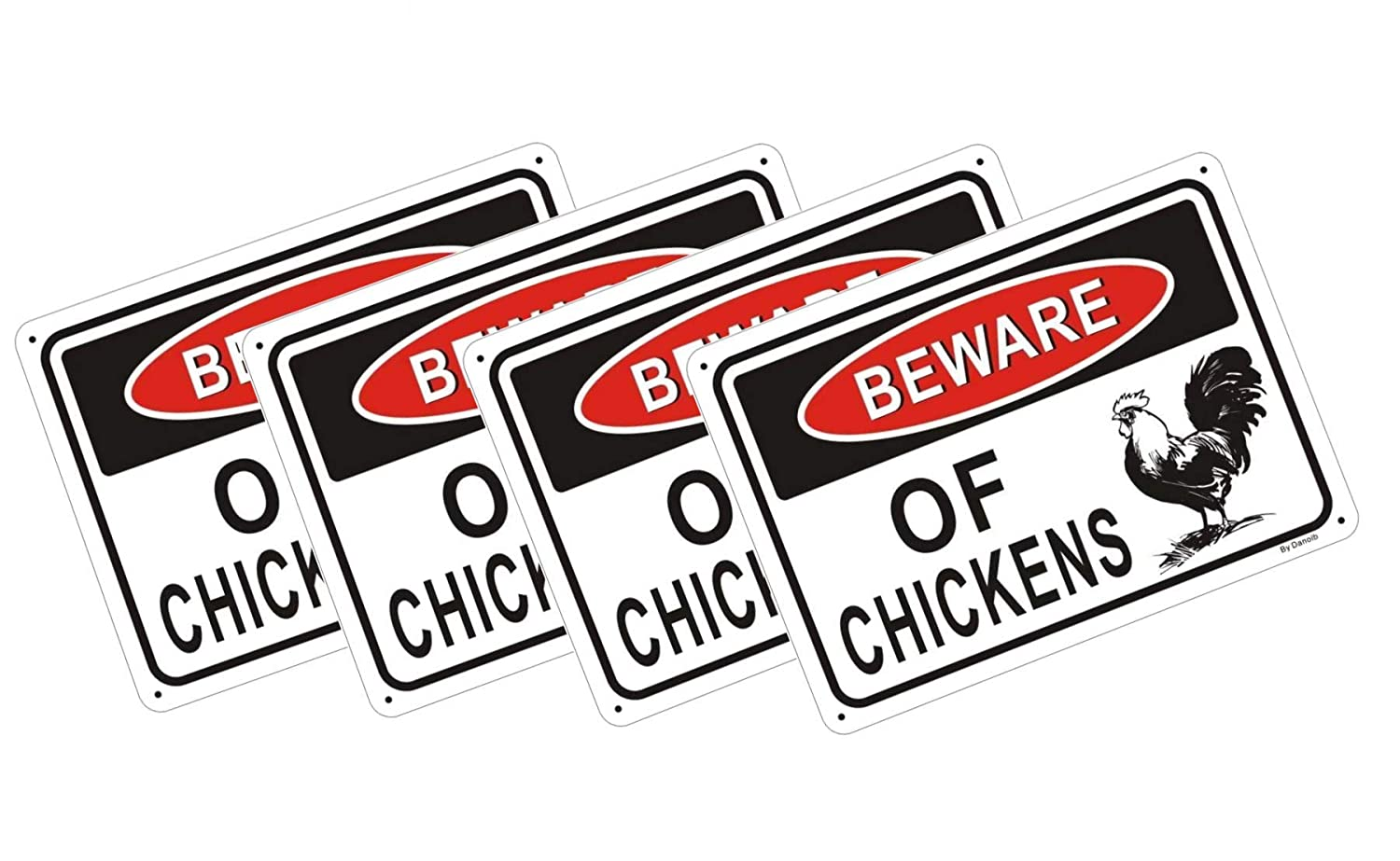 "2-Pack Beware of Chickens Warning Signs 10/"" x 7/"" Danger Sign Funny Gag Gifts"