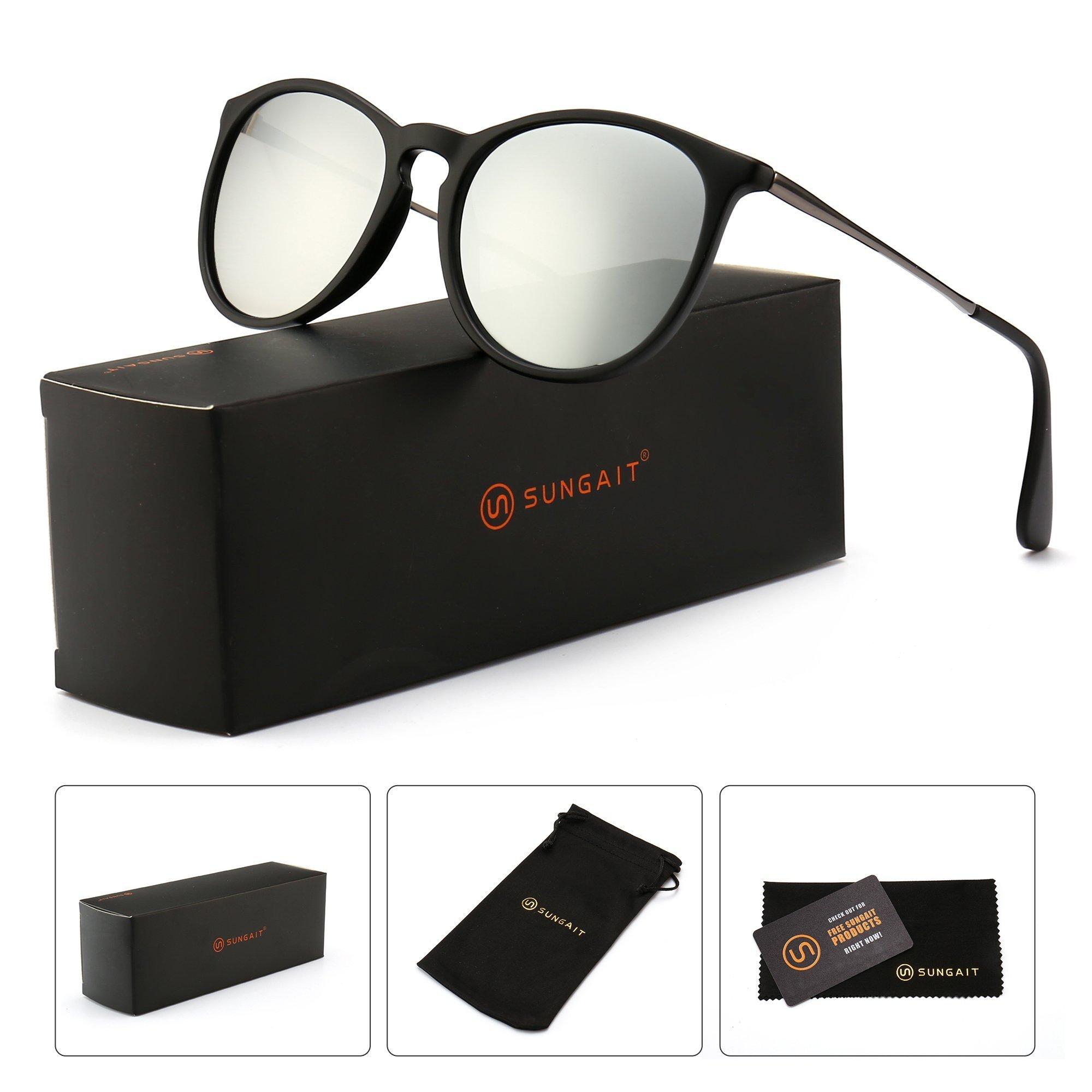 SUNGAIT Vintage Round Sunglasses for Women Classic Retro Designer Style (Black Frame Matte Finish/Sliver Lens) 1567 SHKSY