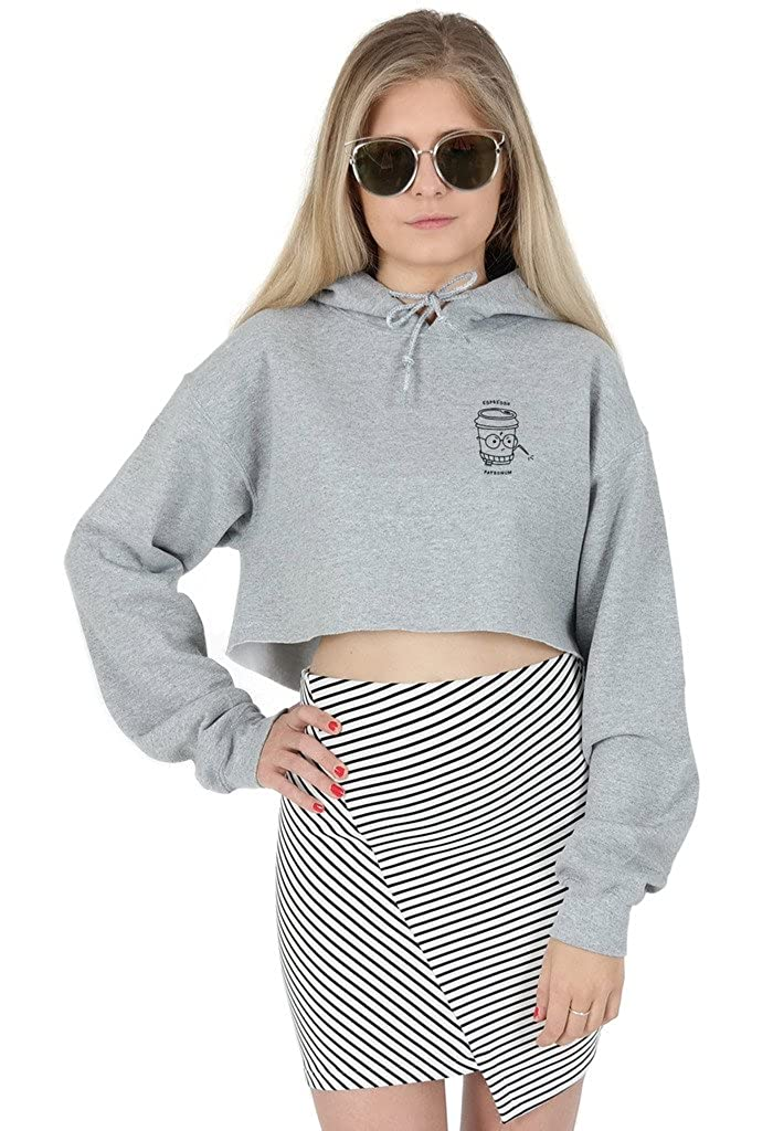Espresso Patronum Crop Hoodie Hoody Top Cropped Cute Expecto Potter Coffee Funny