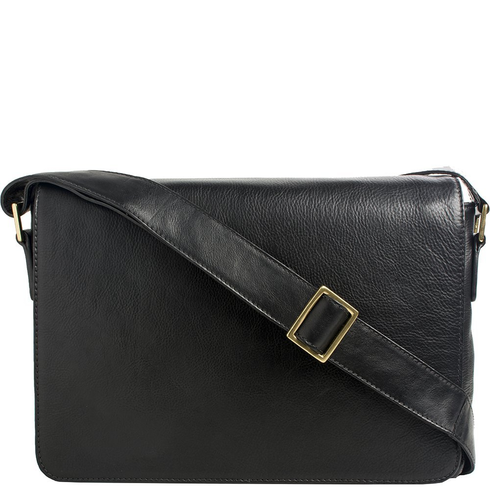 Hidesign Small Rhoden Leather Messenger (Black) by HIDESIGN