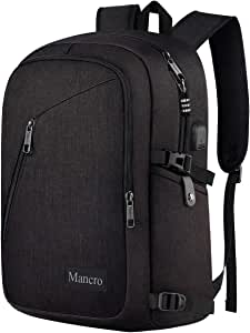 Business Travel Laptop Backpack, Anti Theft Slim Laptop Bookbag with USB Charging Port for men and women, Mancro Water Resistant College School Computer Bag Fits 15.6 Inch Laptop and Notebook (Black)