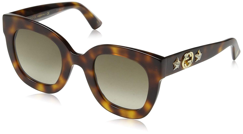 fd13d31f4d Amazon.com  Gucci GG 0208S 003 Havana Plastic Fashion Sunglasses Brown  Gradient Lens  Clothing