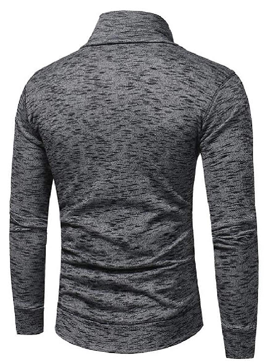 RRINSINS Mens Cowl Neck Long Sleeve Hip Hop Hipster Slim T-Shirt Tops
