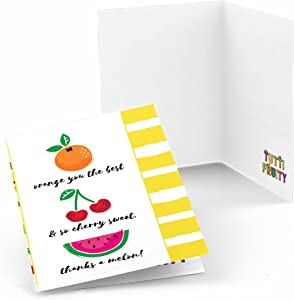 Big Dot of Happiness Tutti Fruity - Frutti Summer Baby Shower or Birthday Party Thank You Cards (8 Count)