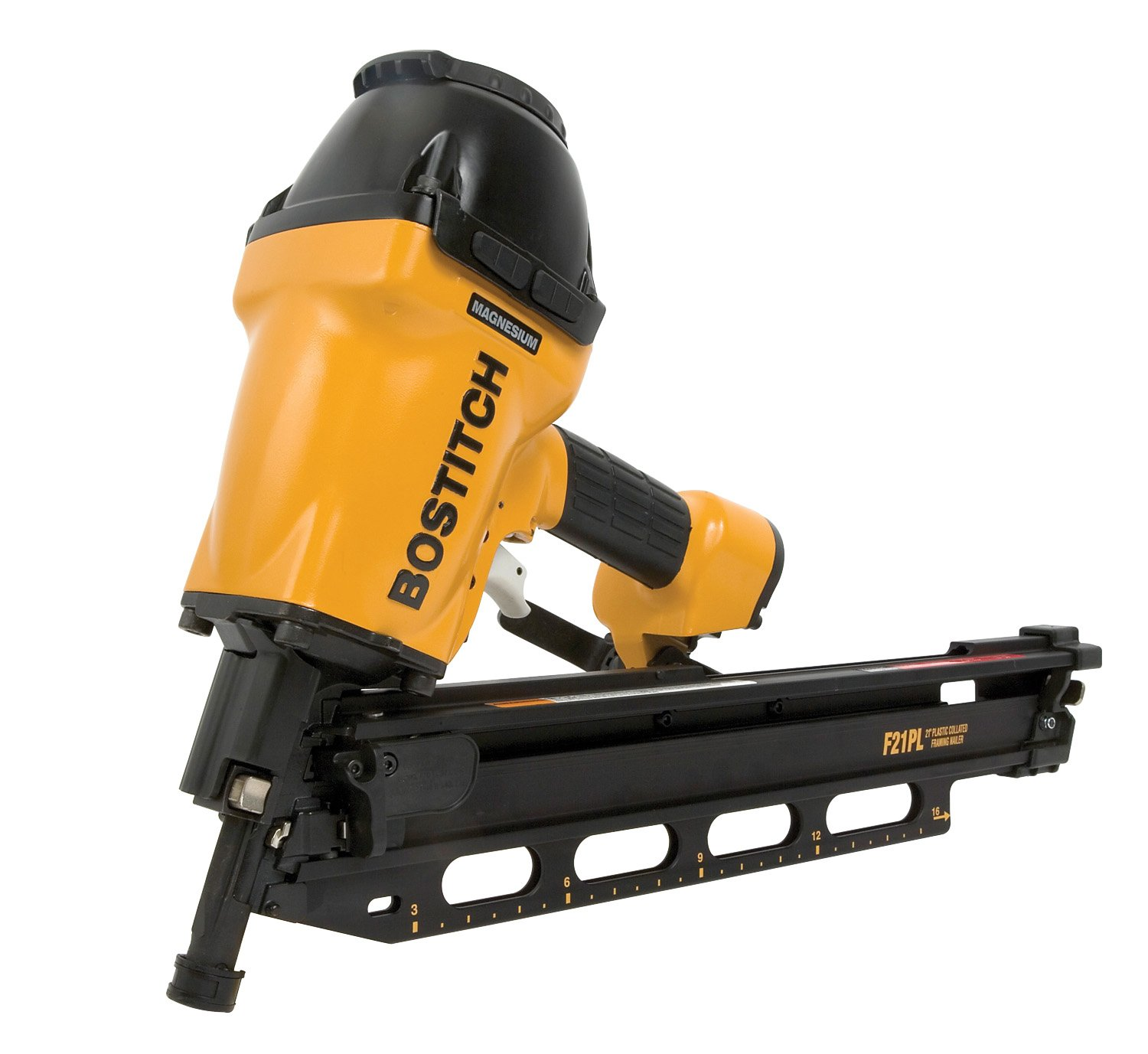 bostitch f21pl round head 1 12 inch to 3 12 inch framing nailer with positive placement tip and magnesium housing