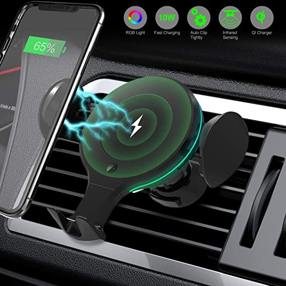 X9 Auto Clamp Fast Charger Air Vent and Suction Mount Holder Compatible with iPhone11//Pro//ProMax//Xs//Max//X//XR//8//8 Plus Galaxy S10//S9+//S9//S8//S8+//Note 9//Note 8 Wireless Car Charger