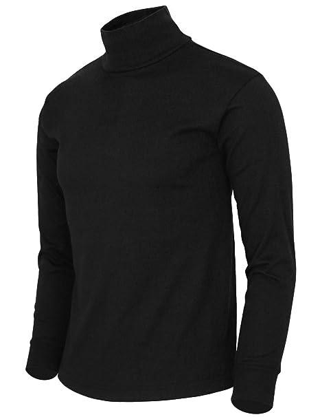 264a2954c22c83 BCPOLO Men's Turtleneck Shirt Long Sleeve Cotton Mock Neck Shirt ...